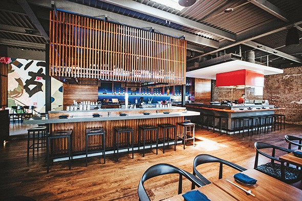 Gun Izakaya features an alcohol bar complete with the state's first highball machine and a bar with a yakitori grill. - ALEXA ACE