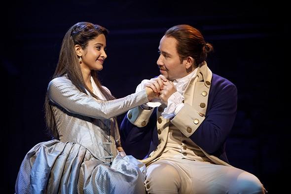 Shoba Narayan as Eliza Schuyler Hamilton and Joseph Morales as Alexander Hamilton in Hamilton: An American Musical - JOAN MARCUS / PROVIDED
