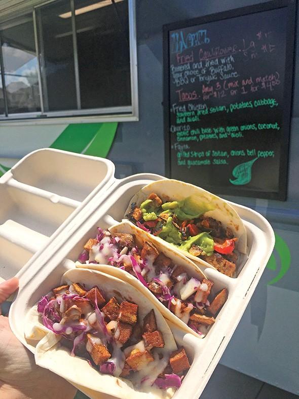 Fried seitan, chorizo and fajita tacos from The Taco Plant - JACOB THREADGILL