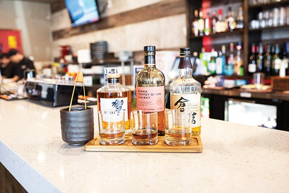 A Japanese whiskey flight is part of Masa Ramen & Sushi's extensive offerings of Japanese liquor. - ALEXA ACE