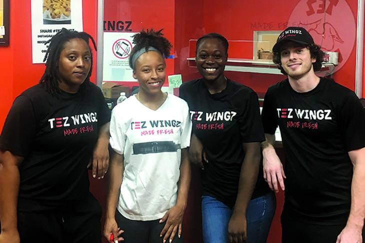 from left Tez Wingz employees Terissa Jordan, Miracle Lennox, DeAnn Gabriel and Matthew Freund - JACOB THREADGILL