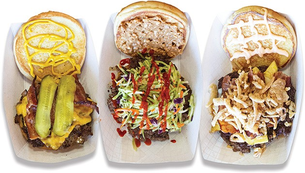 from left Working Man, The Zen, and The Island burgers at Right-A-Way Burger Joint - ALEXA ACE