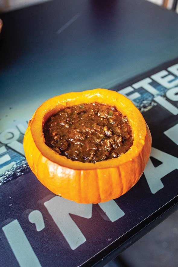 Pumpkin chili served in hollowed-out pumpkin - ALEXA ACE