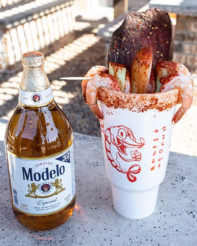 A 44-ounce El Rey with shrimp, cucumber and Mexican beef jerky can be finished with beer or mineral water. - ALEXA ACE