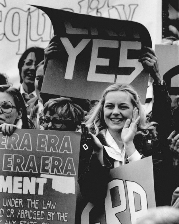 Ada's Kathy Ressel at a rally at the State Capitol in support of the Equal Rights Amendment, January 5, 1982 (Oklahoma Publishing Company Photography Collection, OHS) - PROVIDED