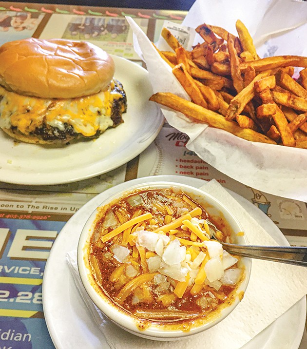 A cup of chili with a sausage burger and a half order of fries at Ron's Hamburgers & Chili in Oklahoma City - JACOB THREADGILL