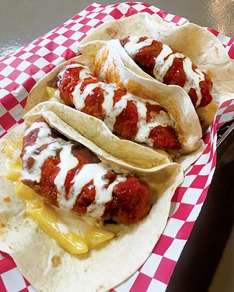 Buffalo chicken tacos with macaroni and cheese - JACOB THREADGILL