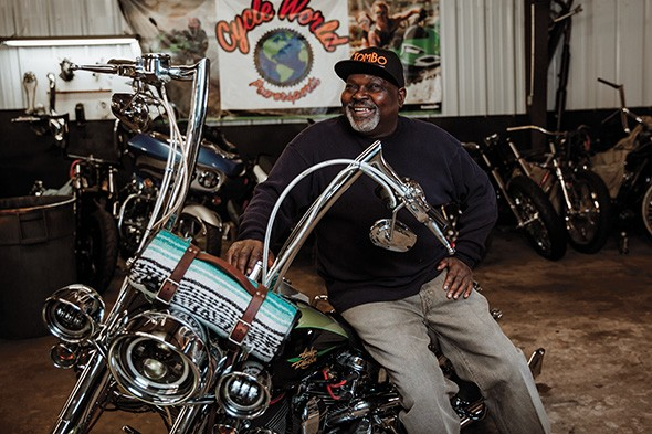 """TomBo Racing builds and races drag bikes and builds and repairs custom bikes and """"bagger"""" touring bikes. - NEISHA T. FORD"""