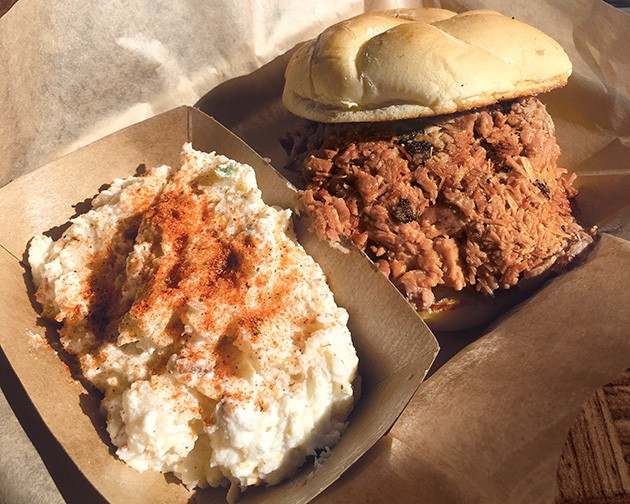 A chopped brisket sandwich at Cornish Smokehouse - JACOB THREADGILL