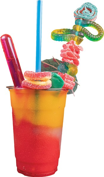Customers can get wine-based daiquiris topped with candy at Good Times & Great Vibes. - PHILLIP DANNER