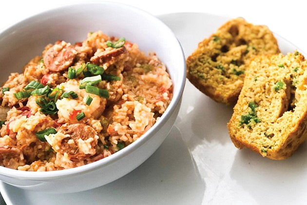 Traditional jambalaya with sausage and shrimp served with crawfish jalapeño cornbread - PROVIDED