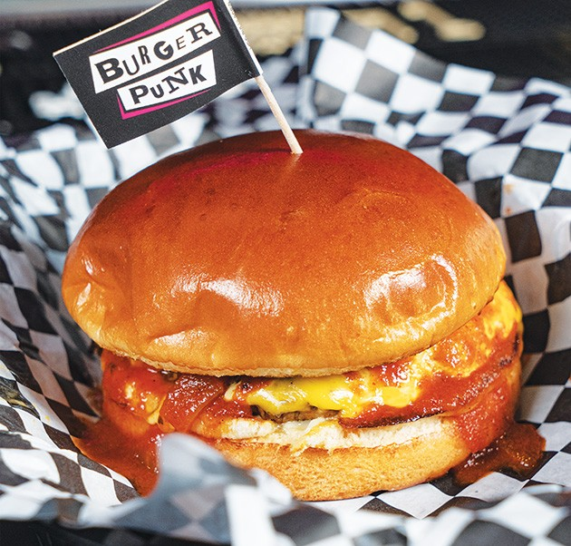Burger Punk's Theta burger substitutes hickory sauce for Evil Barbecue Sauce. - PHILLIP DANNER