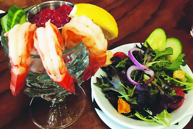 Shrimp cocktail with a side salad at McClintock - JACOB THREADGILL
