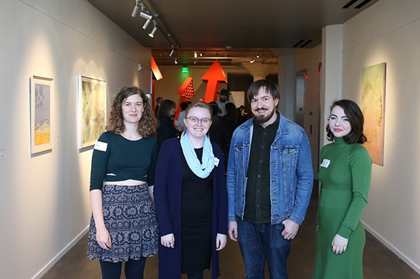 Momentum emerging curator Madison Moody second from left with spotlight artists from left Emma Difani, Daniel Helm and Spencer Plumlee - AARON MORVAN / PROVIDED