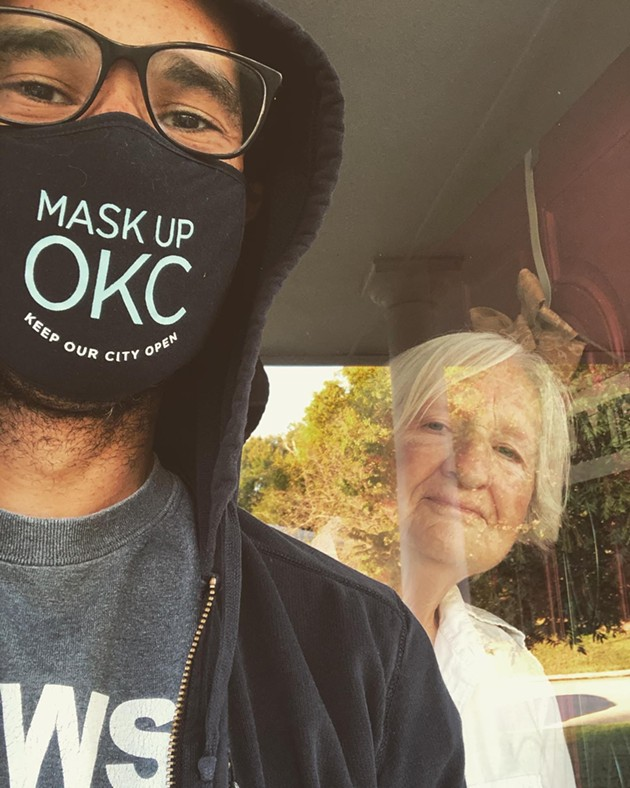 Delivering groceries to his mom, a 76-year-old retired registered nurse. - PROVIDED