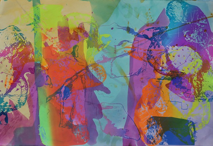 Neon Cactus Paradise | screenprint on dyed paper 2020 - VIRGINIA SITZES