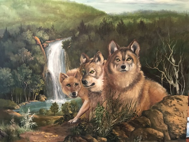 Wolves, 40 X 40 Representational, by Peggy D Farris