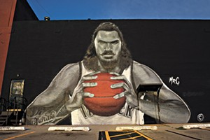 Steven Adams mural, Wednesday, Aug. 9, 2017.  (Garett Fisbeck)