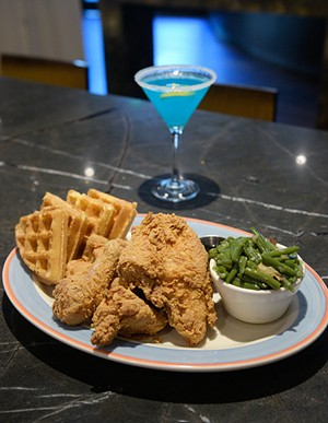 Chicken and Waffles with Thundertini at Legacy Grill Thursday, Oct. 20, 2016.  (Garett Fisbeck)
