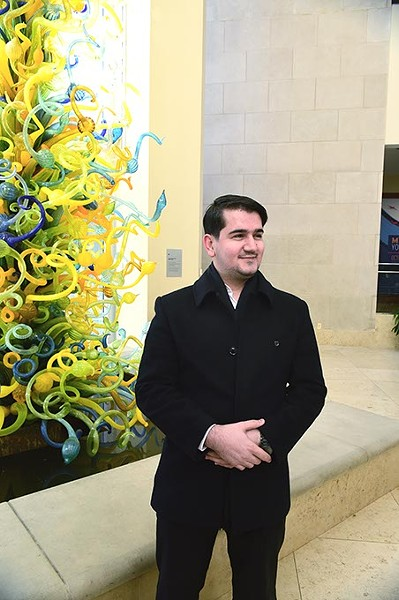 Ersin Demirci, the executive director for the Dialogue Institute, in the lobby of the Oklahoma City Museum of Art, where the work of all artists submitting for this years student art contest will be displayed.  mh