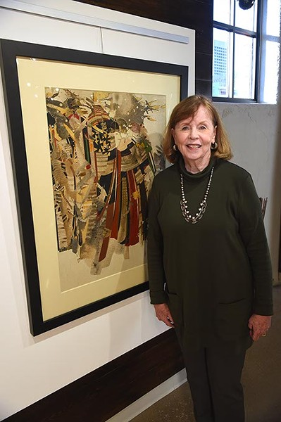 "Chickasaw artist Brenda Kingery with her work ""November"", one of her paintings on display at Exhibit C gallery in Bricktown, 11-7-15. - MARK HANCOCK"