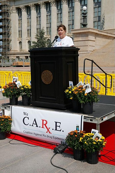 Gail Box shares her story of losing her son to prescription drug overdose during an International Overdose Awareness Day rally at the Oklahoma State Capitol in Oklahoma City, Monday, Aug. 31, 2015. - GARETT FISBECK