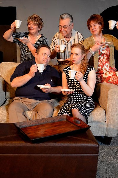 "The Sutton family raises a toast for Avery and Gillian's engagement, but the couple are not so happy in ""37 Postcards,"" a comedy playing February 19-March 12 at Carpenter Square Theatre. Performances are at 800 W. Main in downtown Oklahoma City.  For tickets and more information, call 405-232-6500. Pictured clockwise from top left are: Sheryl Martin, Paul Tomlin, Zaneen Hotchkiss, Karen Garlitz, and Greg Crall."
