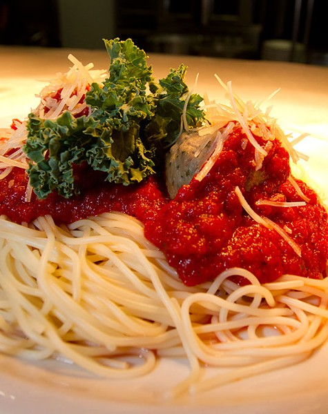 Spaghetti and meatballs at Papa Dios in Oklahoma City. Monday, August 3, 2015. - KEATON DRAPER