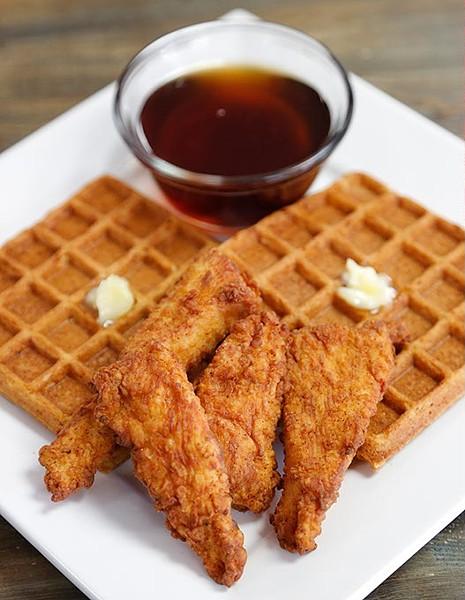 Chicken and waffles at Smokey's Midnight Express in Edmond, Wednesday, Sept. 10, 2015. - GARETT FISBECK