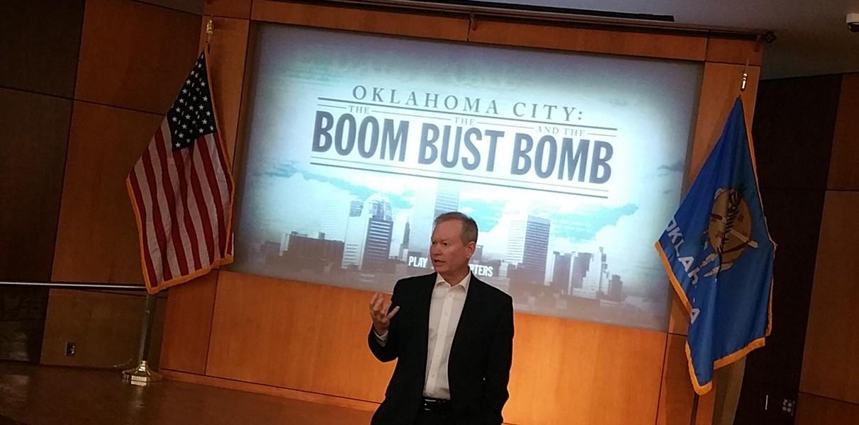 "Oklahoma City mayor Mick Cornett introduces ""Oklahoma City: The Boom, the Bust and the Bomb"" during a Monday screening. - BEN FELDER"