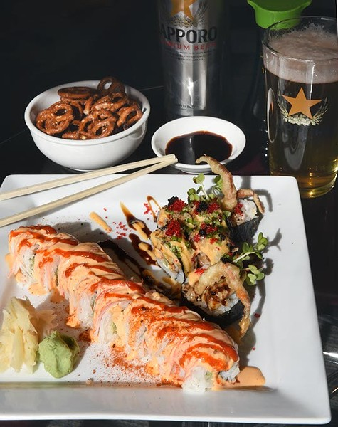 The Taranchula Roll, with Sapporo and pretzels, at Park Harvey Sushi Sports Lounge.  mh