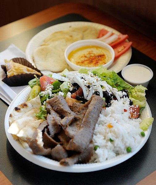 Gyro meat platter with hummus and pita at Sweis' Greek Cafe in Oklahoma City, Wednesday, Nov. 19, 2014. - GARETT FISBECK