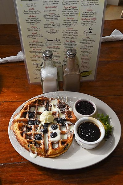 A classic blueberry waffle at The Hash Retro Diner, in Edmond, Oklahoma, USA, cha-cha-cha, 11-17-15. - MARK HANCOCK