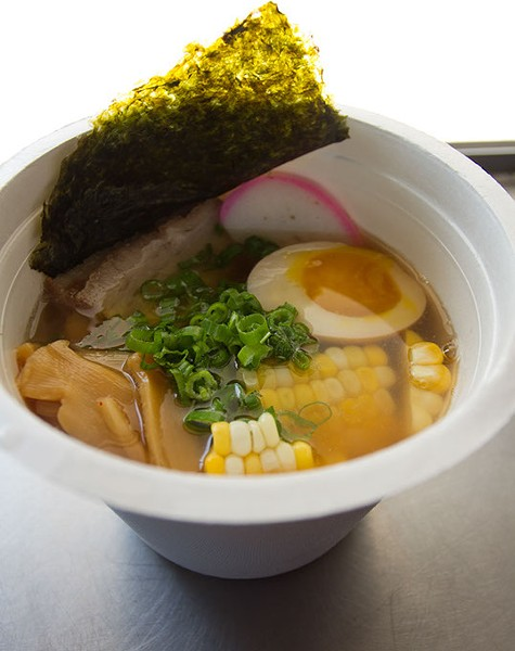 Shot inside food truck of Kaiteki Ramen ingredients: Shoyu (chicken) style broth, fresh noodles, braised pork belly, roasted corn, menma, kamaboko, negi, nori. Monday, August 3, 2015. - KEATON DRAPER