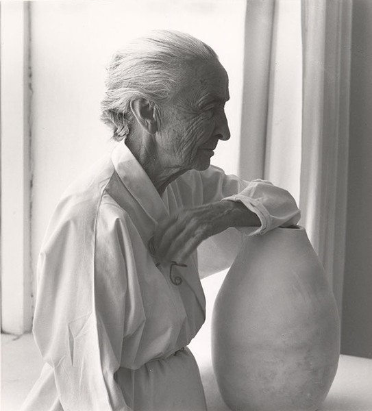 """Georgia O'Keeffe with Juan Hamilton Pot"" by Laura Gilpin - IMAGE FRED JONES JR. MUSEUM OF ART / PROVIDED"