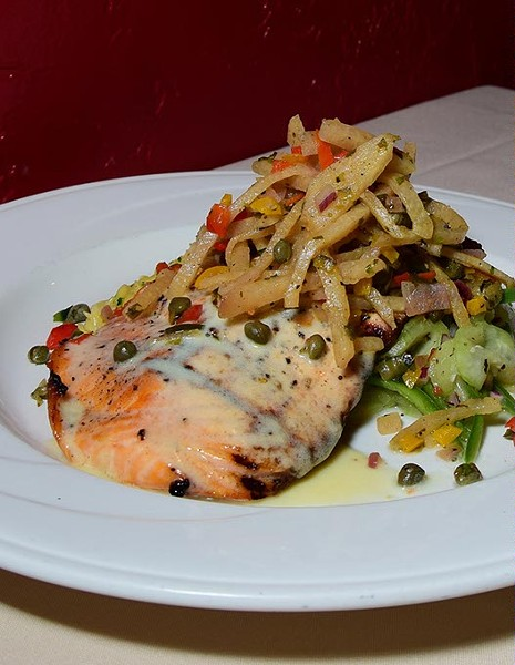 Grilled Salmon at Paseo Grill, in Oklahoma City, 5-9-16. - MARK HANCOCK