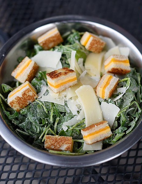 Caesar salad with grilled cheese croutons in Oklahoma City, Wednesday, April 13, 2016. - GARETT FISBECK