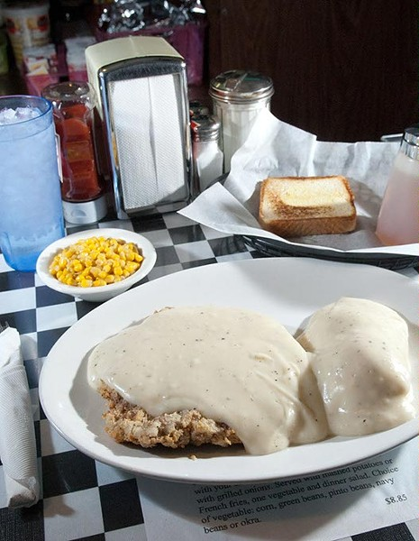 Ann's Chicken Fried Steak with mashed potatoes and Corn.  mh