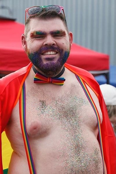 Many Pride-goers covered their bodies, and sometimes beards, in glitter for Pride on Sunday, June 25, 2017. (Cara Johnson).