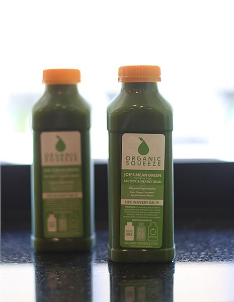 """Joe's Mean Green"" cold-pressed juice at Organic Squeeze. (Cara Johnson)."