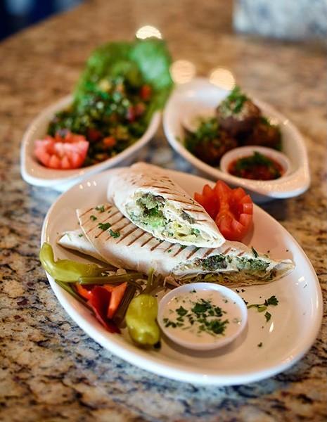 Falafel sandwich at Blu Mediterranean Grill in Oklahoma City, Friday, April 22, 2016. - GARETT FISBECK