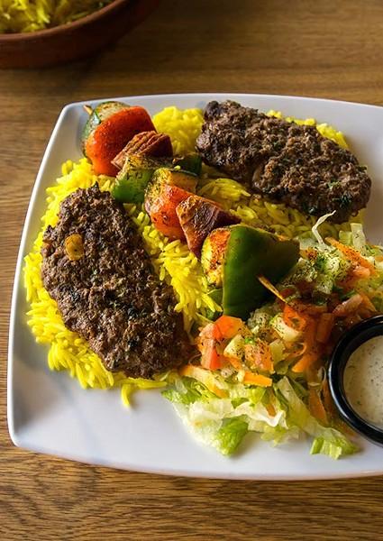 Kofta and veggie kabob at Couscous Cafe, 8-26-2016, Oklahoma City. - MARK HANCOCK