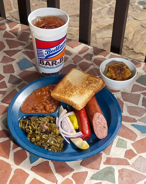 The John Edwards Hot Plate with a side of Green Rice, on the patio at Bedlam Bar B Q.  mh