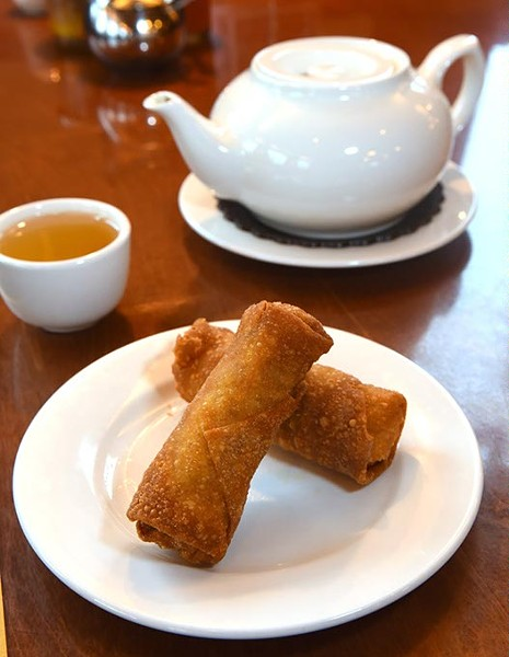 Egg rolls and hot tea at Fung's Kitchen.  mh