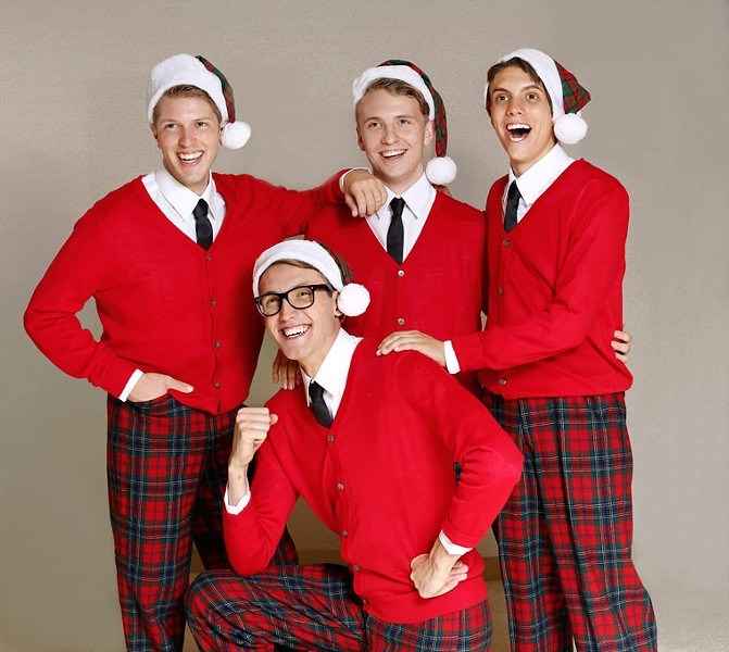 from left Jeremy Small, Owen Whitman, Mitchell Hammond and Gareth Forsberg star in Jewel Box Theatre's Plaid Tidings. | Photo Jim Beckel / Jewel Box Theatre / provided