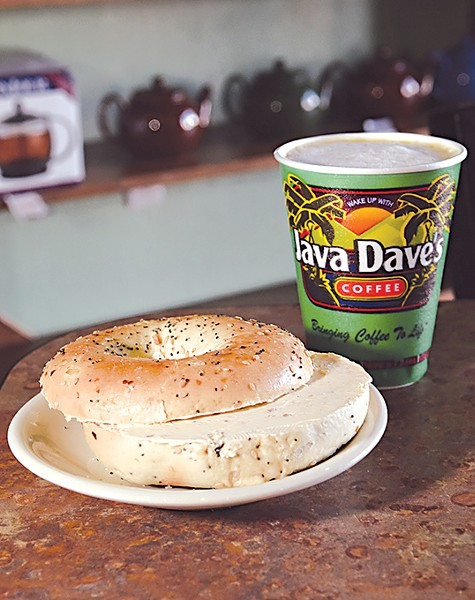 Java Dave's Everything Baget with cream cheese and a Snickerdelicious Cappuccino.  mh - GAZETTE / FILE
