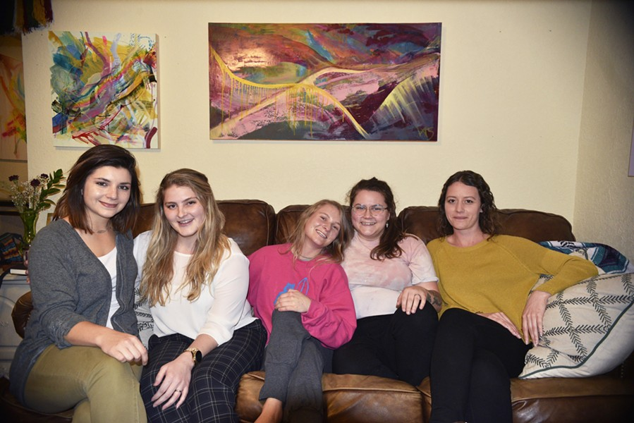 Art Group's leadership team includes from left artists Mycah Higley, Chandler Domingos, Virginia Sitzes, Katelynn Noel Knick and Theresa Hultberg. - BEN LUSCHEN