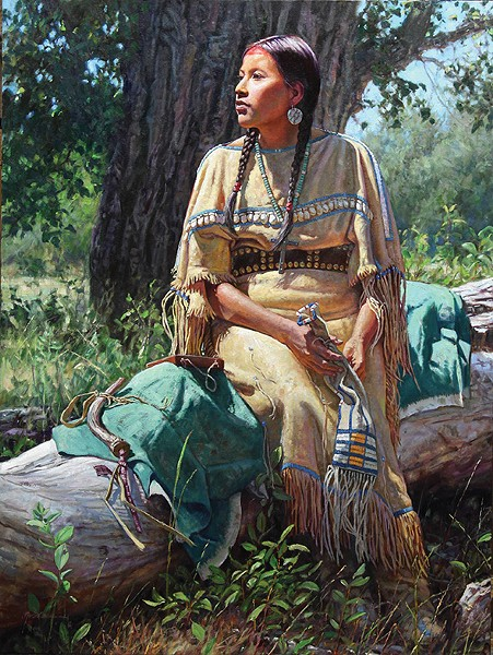 """""""She Awaits Her Warrior"""" by Martin Grelle - NATIONAL COWBOY & WESTERN HERITAGE MUSEUM / PROVIDED"""