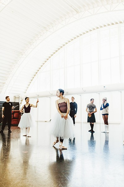 Miki Kawamura second from left and Dayoung Jung center rehearse for Oklahoma City Ballet's La Sylphide. - ALEXA ACE