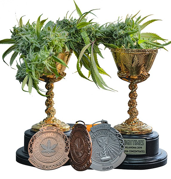 Fire Leaf dispensary's Cannabis Cup trophies - PHILLIP DANNER